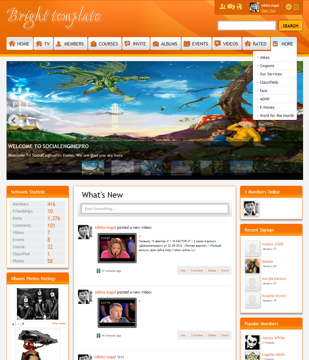 Bright orange template 430 template for socialengine screenshots pronofoot35fo Image collections