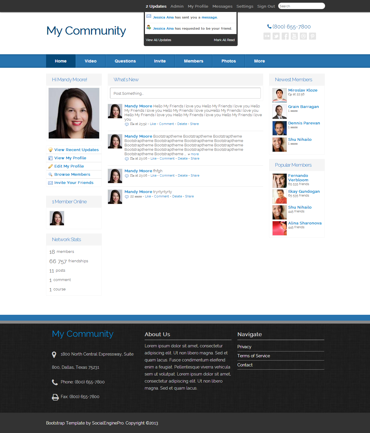Bootstrap template 460 template for socialengine screenshots pronofoot35fo Image collections